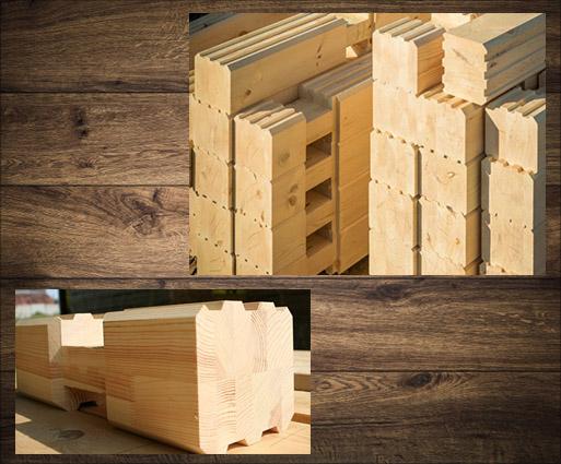 Huizen van gelijmd geprofileerd hout