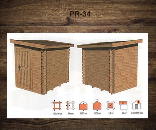 Kleine houten bergschuur voor de tuin PR-34
