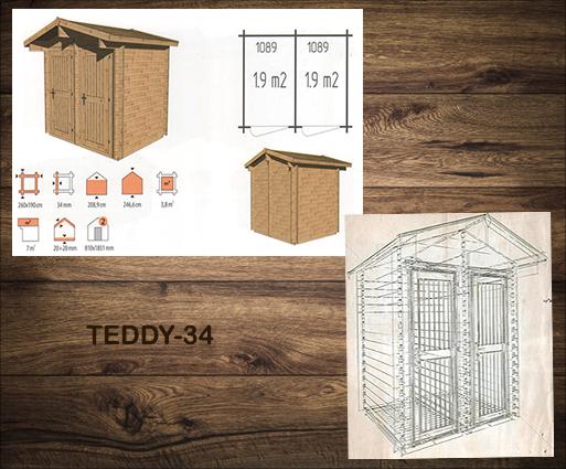 Kleine houten bergschuur voor de tuin Teddy-34